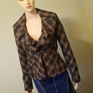 BCBG Maxazaria plaid blazer jacket size XS